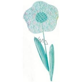 Květina velká modrá proplétaná 49 cm