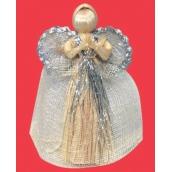 Anděl stříbrný dekor se zvlněnou sukní 17 cm