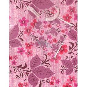 Nekupto Dárková papírová taška malá 14 x 11 x 6,5 cm růžová kytičky, 1035 30 BS