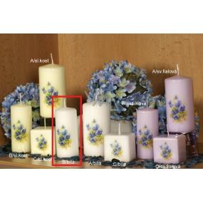 Lima Vůně Květin Fialka vonná svíčka bílá s obtiskem válec 40 x 90 mm 1 kus