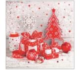 Aha Papírové ubrousky 3 vrstvé 33 x 33 cm 20 kusů Vánoční bílé, červený stromek, červené ozdoby