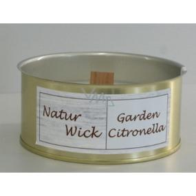 Lima Natur Wick Citronela vonná svíce dřevěný knot, plechová nádobka 105 mm x 47 mm 170 g