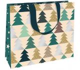 Nekupto Dárková papírová taška luxusní 30 x 23 cm Vánoční Stromečky WLFL 1998