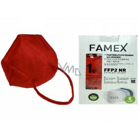 Famex Respirátor ústní ochranný 5-vrstvý FFP2 obličejová maska červená 10 kusů
