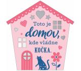 Albi Závěsná plaketka domeček Kočka 9 x 10 cm
