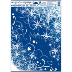 Okenní fólie bez lepidla rohová zamrzlá s duhovými glitry hvězdičky a vločky 42 x 30 cm