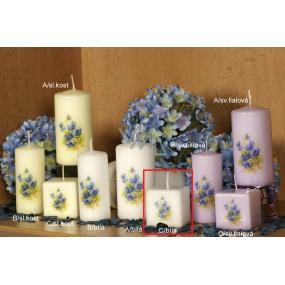 Lima Vůně Květin Fialka vonná svíčka bílá s obtiskem krychle 45 x 45 mm 1 kus