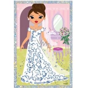 Vyškrabávací obrázek Panenky dlouhé šaty a kytka 21,5 x 11 cm