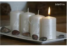 Adventní sada s čísly svíčka bílá válec 60 x 90 mm