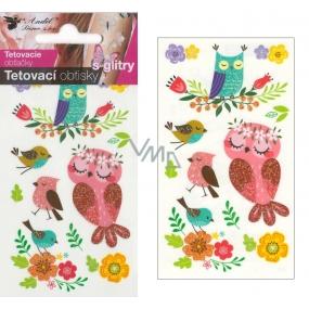 Tetovací obtisky s glitry sovy 10,5 x 6 cm