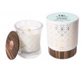 WoodWick Grey Tea & Musk -Šedý čaj a pižmo vonná svíčka s dřevěným širokým knotem a víčkem sklo střední Aura 275 g v dárkové krabičce