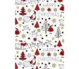 Ditipo Dárkový balicí papír 70 x 200 cm Vánoční bílý Santa sob stromečky