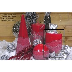Lima Artic svíčka červená válec 80 x 200 mm 1 kus