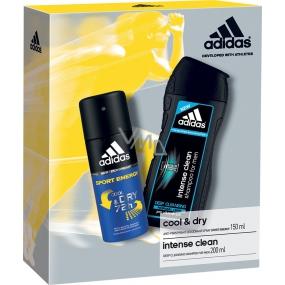 Adidas Cool & Dry 72h Sport Energy antiperspirant deodorant sprej pro muže 150 ml + Intense Clean sprchový gel a šampon pro normální vlasy pro muže 200 ml, kosmetická sada
