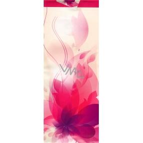 Nekupto Dárková papírová taška na láhev 36 x 12 x 9 cm Bílo růžová s kytkou ALH