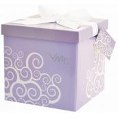 Dárková krabička skládací s mašlí 02 Fialová M+ 17 x 17 x 17 cm
