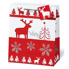 BSB Luxusní dárková papírová taška 23 x 19 x 9 cm Vánoční Red & White VDT 334 - A5