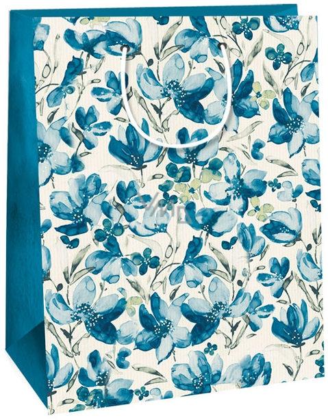 Geschenktüte Kraft 40 weiße blaue Blüten