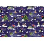 Nekupto Dárkový balicí papír 70 x 200 cm Vánoční Krteček tmavě modrá 1 role
