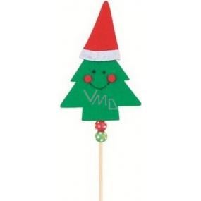 Zápich stromeček z barevného filcu zelený 10 cm + špejle
