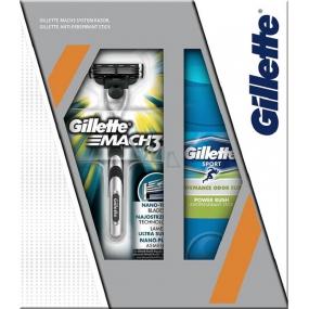 Gillette Mach 3 holící strojek + Gillette Power Rush antiperspirant stick pro muže 48 ml, kosmetická sada