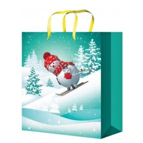 Anděl Taška vánoční dárková pro děti zelená,sněhulák na lyžích L 32 x 26 x 12,7 cm