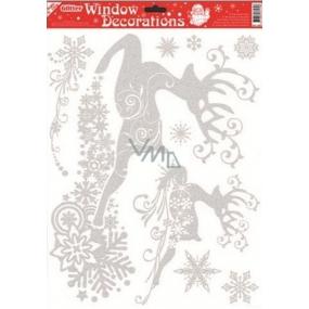 Okenní fólie bez lepidla se stříbrnými glitry 2 jeleni 42 x 30 cm