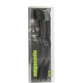 MegaSmile Black Whitening Kartáček na zuby s technologií uhlíkových vláken 2 kusy, duopack