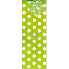 Nekupto Dárková papírová taška na láhev 33 x 10 x 9 cm zelená bílý puntík 1 kus 1146 50 KFLH