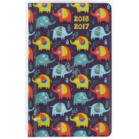 Albi Diář kapesní student Pestrobarevní sloníci 9,5 cm × 15,5 cm × 1,1 cm