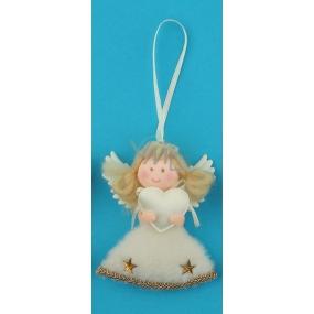 Anděl plyšový na zavěšení zlatý srdce 10 cm