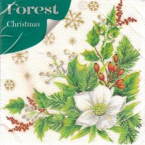 Forest Papírové ubrousky 1 vrstvé 33 x 33 cm 20 kusů Vánoční Bílá květina