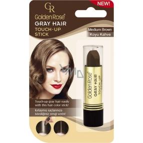 Golden Rose Gray Hair Touch-Up Stick barvící korektor na odrostlé a šedivé vlasy 03 Medium Brown 5,2 g