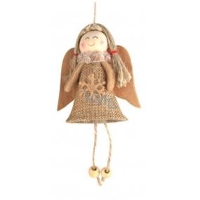 Anděl jutový s hvězdou na zavěšení 13 cm č.3
