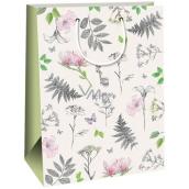 Ditipo Dárková papírová taška kraft bílá, růžové a šedé kytky 27 x 12 x 37 cm Kraft 30