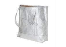 Albi Eko kabelka vyrobená z pratelného papíru laminace - stříbrná 30 cm x 38 cm x 10,5 cm