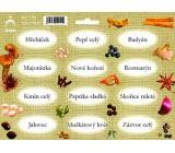 Arch Samolepky na kořenky Juta barvotisk Hřebíček - základní druhy koření