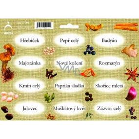 Arch Samolepky na kořenky Juta barvotisk Hřebíček - základní druhy koření 0511