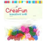 CreaFun Dřevěné knoflíčky Srdce mix barev 11 x 16 mm 30 kusů