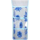 Kapsář do koupelny závěsný světle modrý 46 x 18,5 cm 3 kapsy 669
