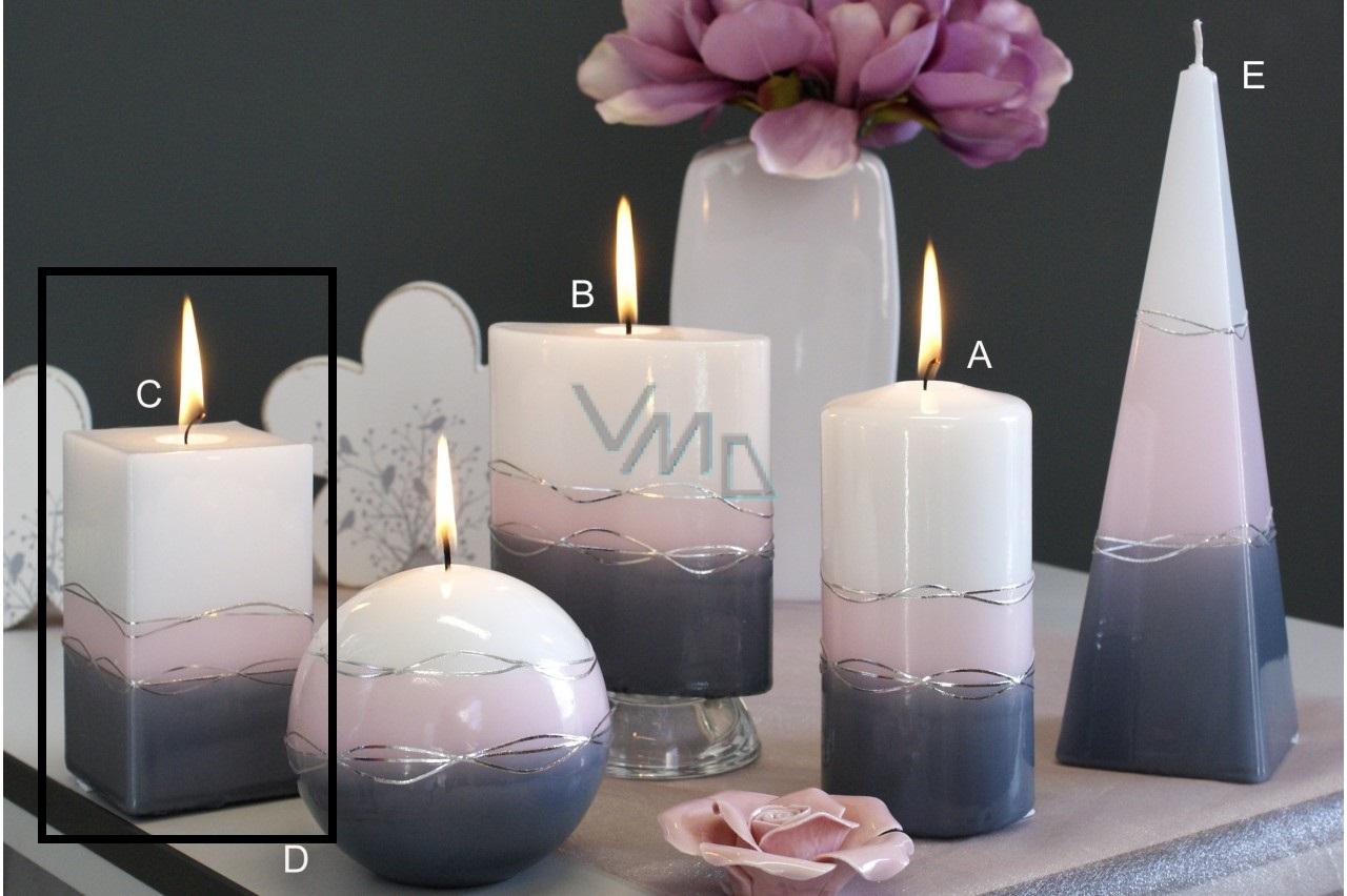 Lima Verona svíčka šedá hranol 65 x 120 mm 1 kus