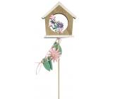 Jarní zápich dřevěný 10 cm + špejle 1 kus dům