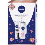 Nivea Diamond Touch Care & Diamond sprchový gel pro ženy 250 ml + Black & White Clear antiperspirant sprej pro ženy 150 ml + krém 30 ml, kosmetická sada