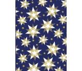 Ditipo Dárkový balicí papír 70 x 200 cm Vánoční modrý bílo-zlaté hvězdy