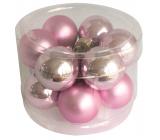 Baňky skleněné světle růžová sada 2,5 cm, 12 kusů