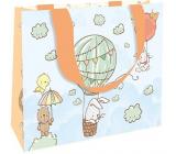 Nekupto Dárková papírová taška luxusní 23 x 17,5 x 10 cm Zvířátka v létajícím balónu 2040 LFM