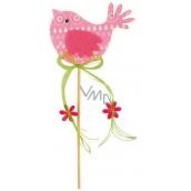 Ptáček z filcu růžový-bílý dekor zápich 7cm + špejle
