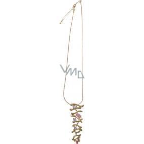 Bižuterie Náhrdelník zlatý s růžovými kameny 40 cm