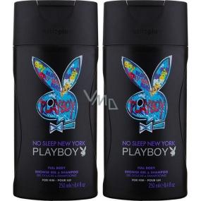 Playboy No Sleep New York 2v1 sprchový gel a šampon pro muže 2x250 ml, duopack