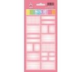 Arch Samolepky do domácnosti Pastelový set tmavě růžový 12 etiket